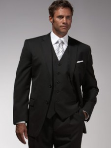 Men's Charcoal Gray Three-Piece Suit