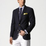 Navy blazer with pocketsquare