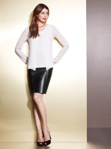 White Chiffon Top/Black Leather Skirt