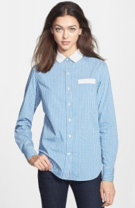 Ladies Contrast Collar Shirt