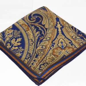 Blue and Tan Pocket Square