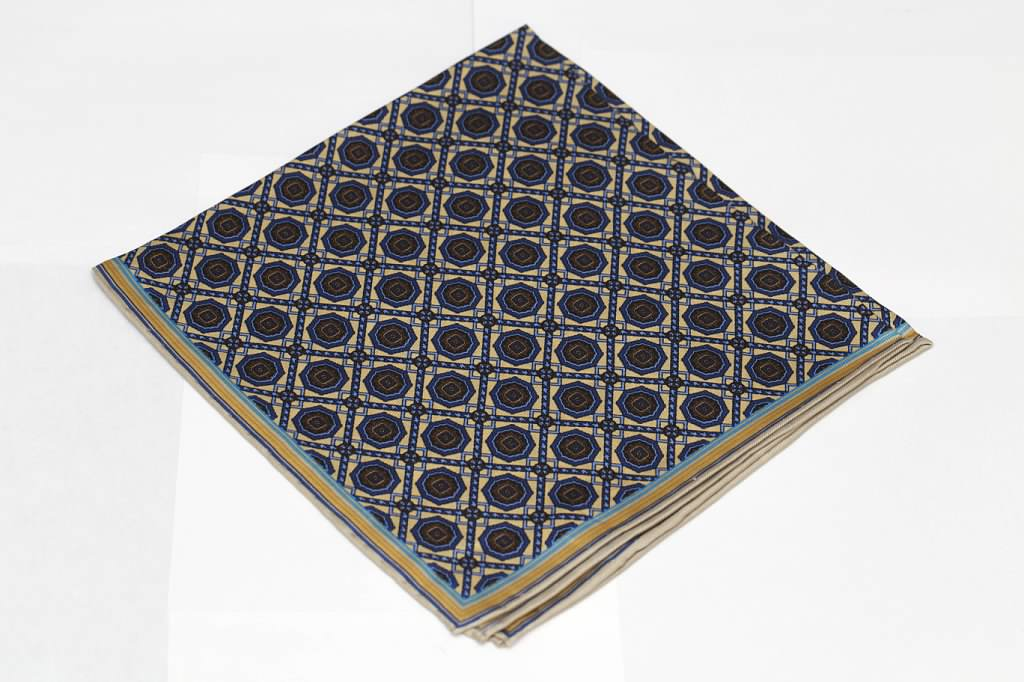 Tan and Blue Pocket Square