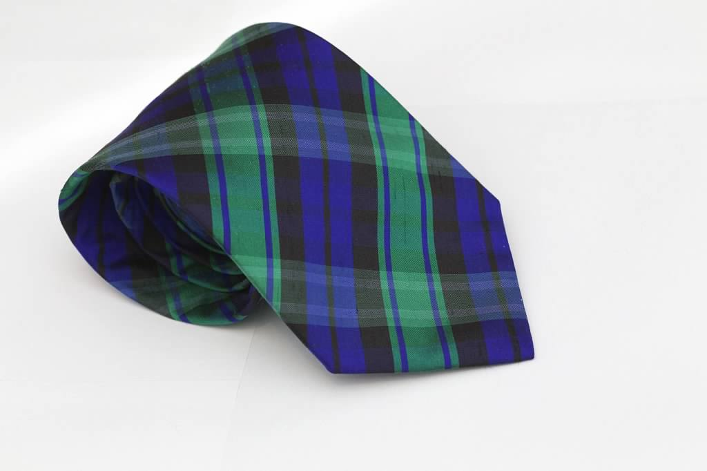 Green and Blue Plaid Tie
