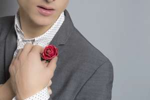 Fleur'd Pins Ruby Red Python Rose lapel flower - photo by Andrew Werner