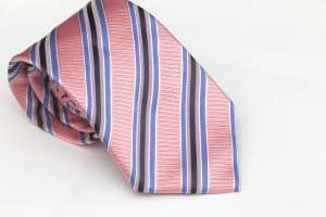 Pink Striped Woven Tie