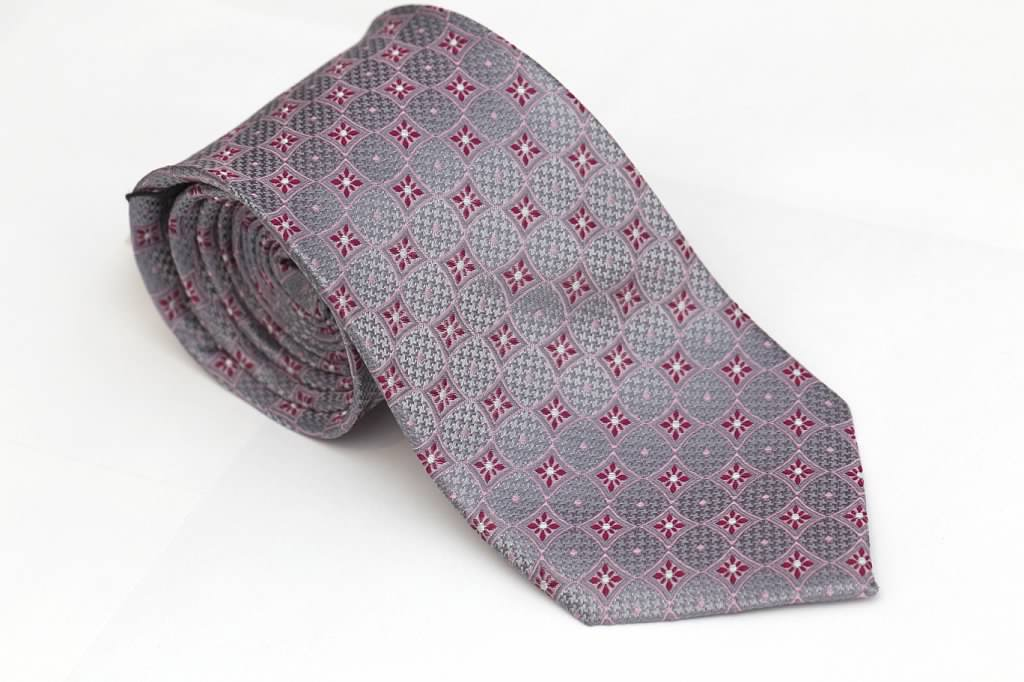 Silver Gray Tie with Plum